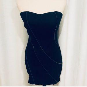 Poetry strapless jean dress zipper pattern design